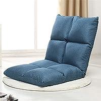 懒人沙发 扶手榻榻米小沙发椅单人折叠沙发床上靠背椅八格5档调节 (藏蓝)