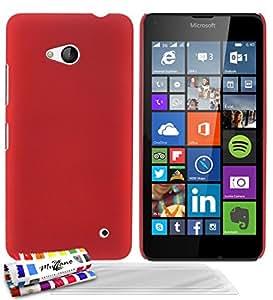 MUZZANO 原创 Le Pearls 硬质保护壳带 3 个超清屏幕保护膜,适用于 Microsoft Lumia 640 - 红色