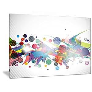 "Designart 彩色圆圈和形状 - 抽象数字金属壁画-MT6840-28x12 白色 28x12"" MT6840-28-12"