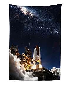 Lunarable Scenery Tapestry King 尺寸,被遗弃的木软管老屋在福斯特山山脉的山地印刷品,壁挂式床罩墙饰,*棕色