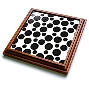 "TRV 192631PS abstract–黑色和白色斑点–trivets 棕色 8"" x 8"""