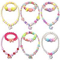 12 件串珠项链和手链适合女孩独角兽彩虹吊坠彩色公主项链装扮扮扮扮扮游戏珠宝套装派对礼品幼儿礼物
