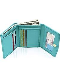 女式三折钱包 RFID 屏蔽 - 真皮信用卡包,带零钱包