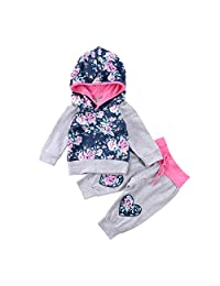 2PCS Newborn Baby Girls Clothing Floral Hoodies Embroidery Tops Pants Winter Outfits