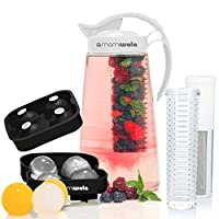 Fruit & Tea Infusion 水壶 - 免费冰球机 - 免费注入水道电子书 - 包括防碎果汁、水果保温器和茶壶 - 非常适合* - 完美套装 白色 12.4 * 7.3 * 5.2 in 43219-87016
