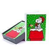 Hallmark 1XPX1721 假日盒装卡(史努比和木料,16 张圣诞节贺卡和 17 个信封)