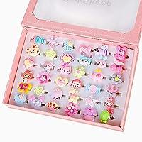 PinkSheep 小女孩宝石戒指(包装盒内),可调节,无重复,女孩假装游戏和装扮戒指 2018 时尚 36 件