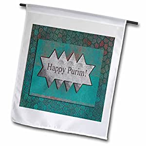 BEVERLY TURNER 犹太假期设计–快乐 purim , Stars OF David–旗帜 12 x 18 inch Garden Flag