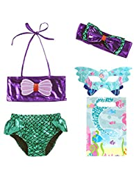 JFEELE 幼童美人鱼泳衣 2 件套比基尼游泳套装美人鱼尾泳衣 - 2-8T