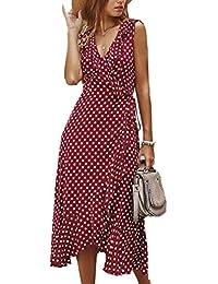 女式連衣裙波西米亞圓點 V 領夏季沙灘背心開叉高低飄逸長裙