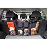 Linkstyle 汽车后座椅收纳袋,后座行李箱收纳袋带盖,节省空间,保持行李箱清洁整洁,8 个大口袋可装内部货物配件 SUV 和汽车收纳包