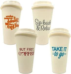 带盖咖啡杯,可重复使用优质塑料。 各种印花,17 盎司。 坚固、紧密密封的塑料吸管盖,可在洗碗机和微波炉中*使用! GO GREEN & cost effective VS 纸/泡沫杯。 白色