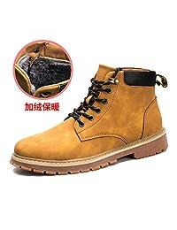 (FOMCORT)美国品牌 马丁靴 男士 中帮男鞋 软皮 加绒棉鞋 休闲鞋 户外运动鞋