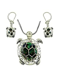 """DianaL Boutique Silvertone Sea Turtle Abalone Shell Pendant Necklace and Earring Set with 18"""" Chain"""