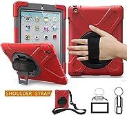 iPad mini 1 mini 2 mini 3 Air iPad 234 保護套,TSQ 攜帶堅固保護重型保護套,帶 360 度旋轉支架,手柄手柄手柄,肩帶適用于兒童女孩男孩蘋果平板電腦保護手機 Red. iPad