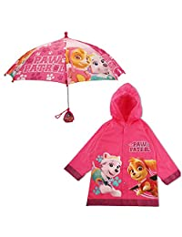 Nickelodeon Girls' Paw Patrol Pink Girls Slicker and Umbrella Set