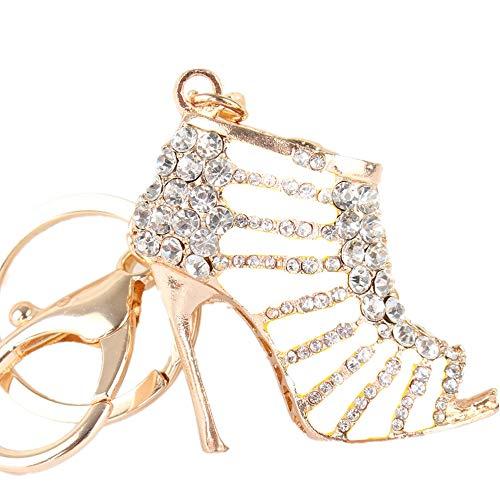 JewelBeauty 可爱高跟鞋高跟鞋水钻水晶钥匙扣吊坠美丽配饰女孩的*佳礼物钱包魅力手提包手机包钥匙圈 white II
