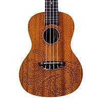 Luna Guitars UKETCSPR 纹身音乐会云杉尤克里里里琴,带琴包UKETCMAH Ukulele Right Handed