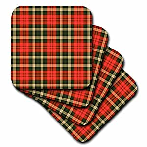 3dRose cst_55216_1 Larger Country Red N Green Plaid-Soft Coasters, Set of 4