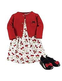 Hudson Baby 女童3件套,连衣裙、开襟毛衫、鞋套装