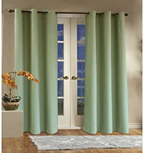 Thermalogic Insulated Cotton Panels Pair, 160 by 84-Inch, Sage