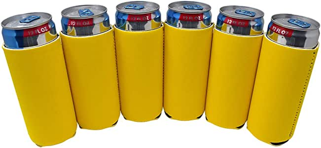 TahoeBay 6 纤薄罐套 - 空白氯丁橡胶啤酒冷却器 - 兼容 340 毫升 RedBull,Michelob Ultra,白爪尖刺自拍器 黄色 12oz