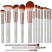 BS-MALL(TM) 高级合成 Kabuki 化妆刷套装化妆粉底混合腮红眼线笔脸部粉刷化妆刷套件(15 件,白玫瑰)