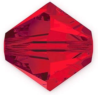 50 件正品 3 毫米施华洛世奇水晶 5328 Xillion 双锥体水晶珠用于珠宝工艺制作(浅Siam)SWA-b306