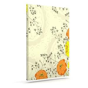 "Kess InHouse Nandita Singh""Flowers and Twigs"" 棕褐色橙色户外帆布墙壁艺术 24"" x 30"" 米色 NS2008AAC05"