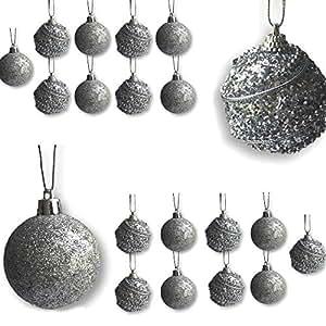 BANBERRY 设计圣诞银色球装饰 - 银色装饰圣诞装饰品 - 2 英寸直径(5 厘米) - 防碎球装饰 - 银色圣诞装饰 闪光银 20 3584