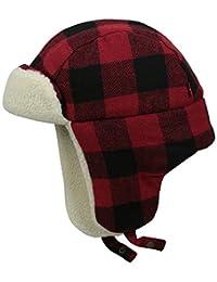 李维斯男式大方格图案 trapper 帽子带夏尔巴衬里