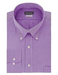 Van Heusen 男式衬衫常规版型格子纽扣领口