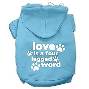 "Mirage Pet Products 12"" Love is a Four Leg Word 丝网印刷宠物连帽衫 浅蓝色 中"