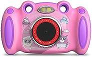 Campark 儿童相机,女孩男孩生日礼物,适合 4-8 岁儿童,双自拍,2 英寸屏幕录制视频照片游戏,防震儿童数码相机,适合幼儿小学生