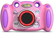 Campark 兒童相機,女孩男孩生日禮物,適合 4-8 歲兒童,雙自拍,2 英寸屏幕錄制視頻照片游戲,防震兒童數碼相機,適合幼兒小學生