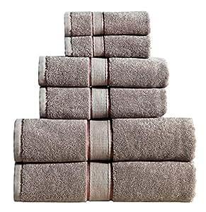 Panache Collection 600 GSM 超柔软 * 纯棉毛巾套装(白色),长绒棉, Spa *店品质,超吸水性,可机洗 铂金灰色 6 件套 PHC6PCTWL-PLT