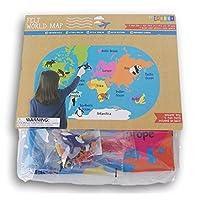 世界动物毛毡地图 24 个图标-尺寸 20 x 32 英寸