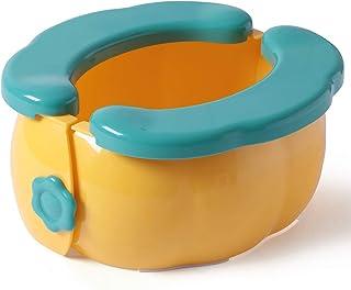 便携式旅行便盆,男孩女孩可折叠训练厕所,大号可重复使用防滑旅行便盆,带储物袋和垃圾袋,可用于户外、室内及车内(黄色)