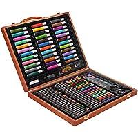 【送给孩子的新年礼物】儿童节礼物 150绘画文具套装 开学季奖品礼品红木礼盒 画笔 画笔套装 (黑色)