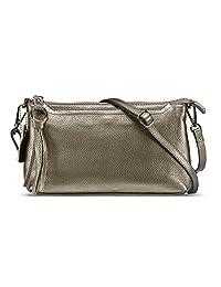 Lecxci 女式小皮革斜挎包,拉链手包手机钱包,配[3 个卡槽] 女士*