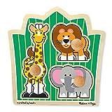 Melissa & Doug 丛林朋友野生动物园动物巨型旋钮木制拼图