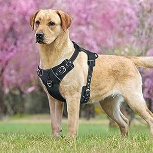 Idepet 防拉式狗狗背带带带手柄可调节反光宠物背带背心 易于控制小型中大型犬训练 行走远 黑色 Pin Buckle Design XL