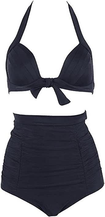 Zexxxy 女士 2 件套比基尼套装复古花卉泳衣高腰泳衣 黑色 X-Large