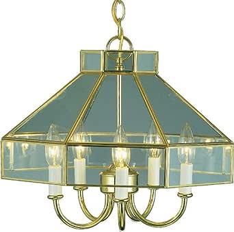 Volume Lighting V5125-2 5 灯枝形吊灯,黄铜抛光