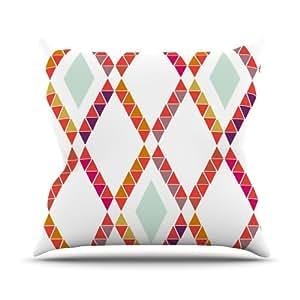 Kess InHouse Pellerina 设计 Aztec 钻石几何图形室内/室外抱枕 18 x 18 英寸(长x宽) 橙色 AH2003AOP03