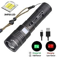 可充电手电筒 X.Store XHP50 超亮战术防水 LED 手电筒 4000 流明 5 种模式适用于露营、徒步和紧急情况下(电池不包括)