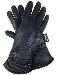 奢华柔软女式黑色真皮羊皮皮革 3M 新雪丽冬季手套