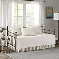 "Comfort Spaces - Kienna Daybed 套装 - 缝合棉花图案 - 5 件 象牙色 75""x39"" CS13-0544"