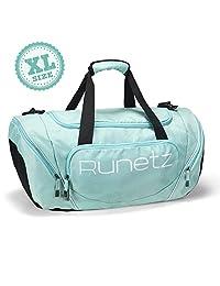 Runetz 男女运动包带湿口袋旅行健身包旅行健身包带鞋隔层行李袋 50.8 cm 大号 76.2 cm X-L 码