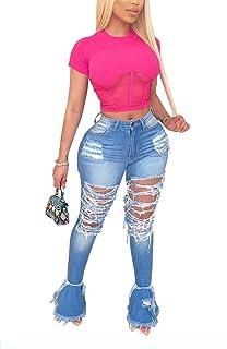 OLUOLIN 做旧喇叭牛仔裤女式破洞喇叭裤牛仔裤男友款高腰裤